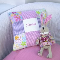 Bright Pink And Purple Name Cushion, Pink