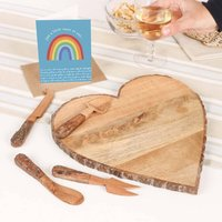 Heart Shaped Serving Board And Cheese Knives Set