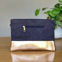 Navy Suede And Metallic Copper Clutch Bag