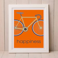 Happiness Bicycle Print A4