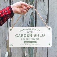 Personalised Hanging Metal Garden Shed Sign, Black/Grey/Red