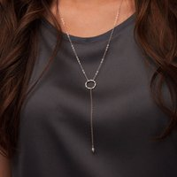 Long Sterling Silver Y Necklace, Silver