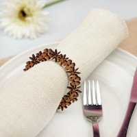 4x Floral Wooden Napkin Rings