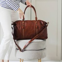 Leather Holdall Bag, Tan