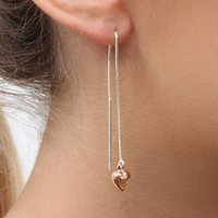 Rose Gold And Silver Pull Through Heart Earrings, Silver