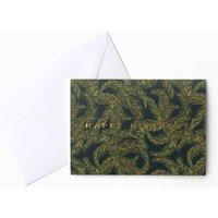 Dark Palm Leaf Birthday Card