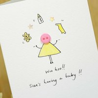Personalised 'Button Baby Shower' Hand Illustrated Card