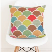 Geometric Linen Scallop Cushion Cover