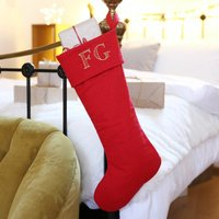Personalised Initials Linen Christmas Stocking