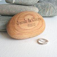 Pebble Shape Wooden Engraved Ring Box