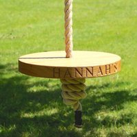 Personalised Round Oak Garden Rope Tree Swing