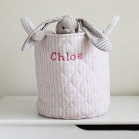 Personalised Pink Small Quilted Toy Bag