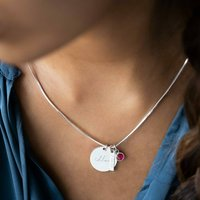 Disc Bar And Birthstone Sterling Silver Slider Necklace, Silver