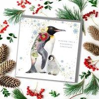 Penguins Hug Christmas Card