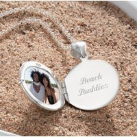 Engraved Silver Round Chamber Locket Necklace, Silver