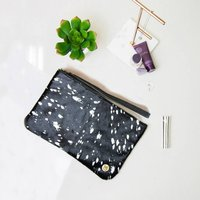Black And Silver Pony Hair Clutch Bag