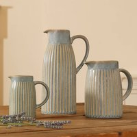 Washed Stone Ribbed Pitcher Jugs
