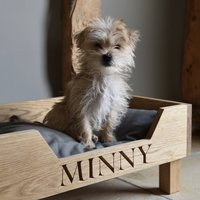 Solid Oak Personalised Dog Bed