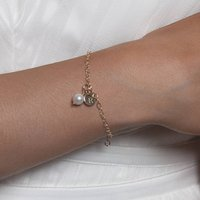 Gold Or Silver Pearl Initial Bracelet, Silver