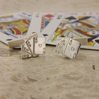 Playing Cards Cufflinks In Silver, Silver