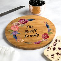 Personalised Family Serving Board Summer Flowers