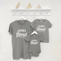 Personalised Squad Family Surname Matching T Shirt Set