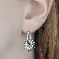 Sterling Silver Sunburst Hoop Earrings, Silver