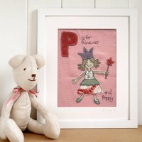 Personalised Girl's Alphabet Picture Gift, Pink/Cream/White