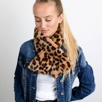 Neck Tie/ Snood With Faux Fur Animal Print