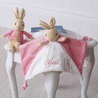 Personalised Flopsy Bunny Comfort Blanket And Rattle, Beige/Grey/Pink