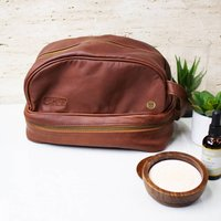 Personalised Large Leather Raleigh Wash Bag Brown