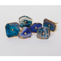 Agate Knob With Gold Hardware Set Of Six