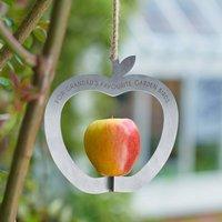Personalised Apple Shape Metal Bird Feeder