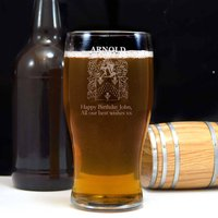 Engraved Pint Glass With Your Family Crest