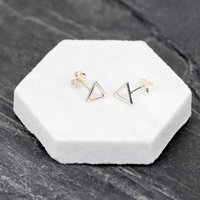 Silver Geometric Triangle Earrings, Silver