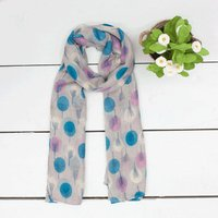 Orchard Scarf, Grey/Turquoise