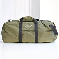 Personalised Vintage Overnight Holdall Army Green