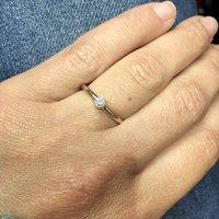 9ct Gold Round Diamond Skinny Engagement Ring, Gold