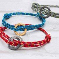 Mens Personalised Halo Bracelet, Red/Grey/Blue