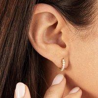 Small Gold Or Silver Diamond Huggie Hoop Earrings, Silver