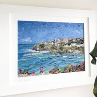 Port Isaac Cornwall Upcycled Paper Collage Print