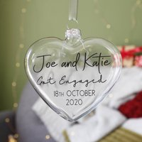 Happy Engagement Glass Heart Bauble Gift