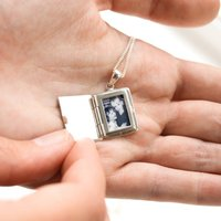 Personalised Silver Photo Book Locket, Silver