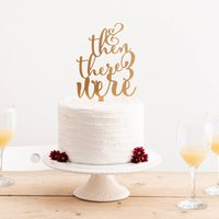 Then There Were Three Baby Announcement Cake Topper