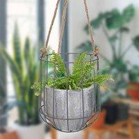 Contemporary Concrete Hanging Basket Planter