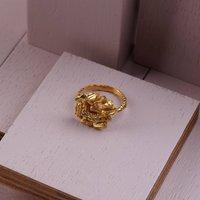 Large Golden Carve Ring, Gold