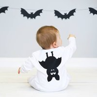 Halloween Bat Baby Sleepsuit, White/Black
