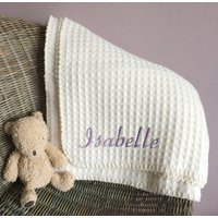 Personalised Lambswool Waffle Baby Blanket, Grey/Light Blue/Blue