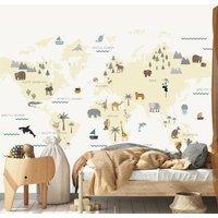 World Map Childrens Wallpaper Cream