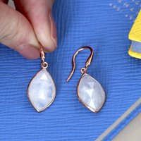 18ct Rose Gold Moonstone Drop Earrings, Gold